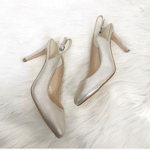 {Nine West} Silver Sparkle Slingback Heels
